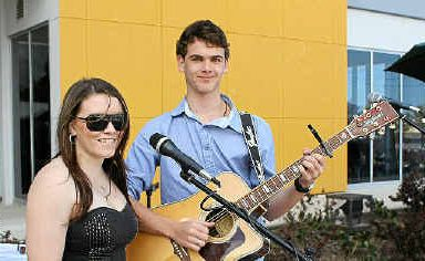 Pocket Space band members Marcus McConnell and Alicia Stevenson, entertained the crowd at the CQU Open Day at the Mackay campus yesterday.