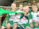 "Whitsunday ""Mini Miners"" Keely Wotherspoon, Jessica Radunz, Ava Wheeler and Patrick Radunz cheer on the Daily Mercury Whitsunday Miners."