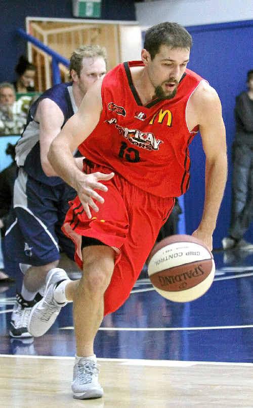 Rhys Martin controls play against the Rockets.
