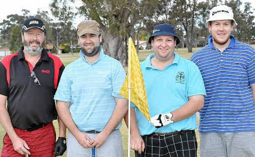 Clive and Simon Pulley, Scott Stevens and Matt Pulley at the Cancer Council Queensland day.