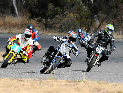 Brayden Sense (centre) leads fellow Coffs Harbour riders Brett Lucas (left) and Rob McCarthy (right).