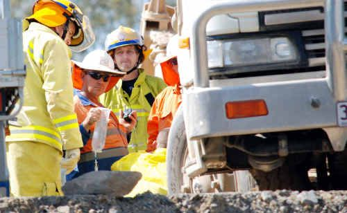 A 63-year-old driver working on the new highway upgrade at Coles Creek was trapped under his water truck on site yesterday and suffered multiple fractures and internal injuries.