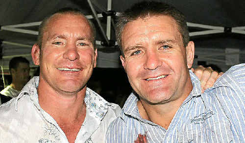 Queensland State of Origin great Shane Webcke (right) and fellow retired NRL player Kevin Campion, pictured at the 2011 Sam Faust Appeal Bullarama last month, will oppose each other in the August 20 Black Toyota Legends game in Warwick.
