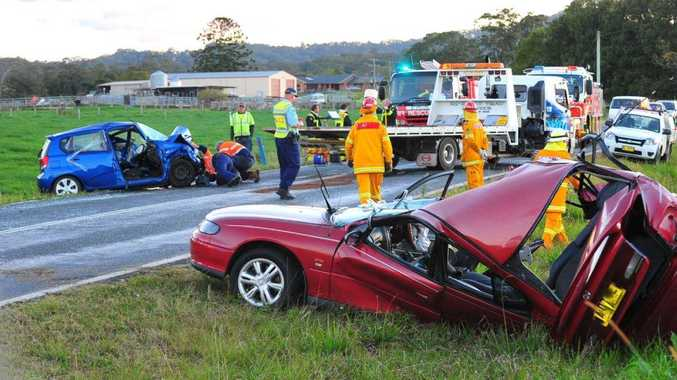 Three people were hospitalised after a two vehicle accident on the Waterfall Way near Fernmount.