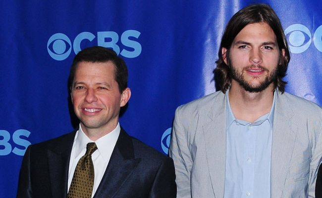 Two and a Half Men star Jon Cryer with Sheen's replacement on the show, Ashton Kutcher.