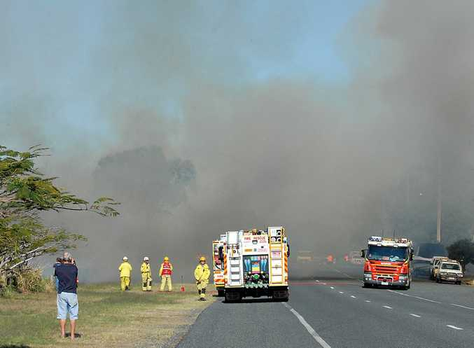 Fire crews have controlled a blaze that stretched for 2km.