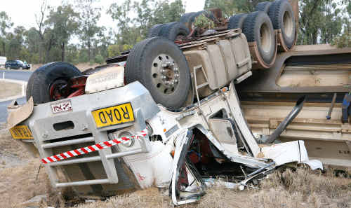 A road train crashed along Rubyvale-Capella Rd on Saturday.