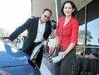 POWER POINT: Member for Buderim Steve Dickson and and Environment Minister Vicky Darling plug in at Queensland's first recharge point for electric cars.