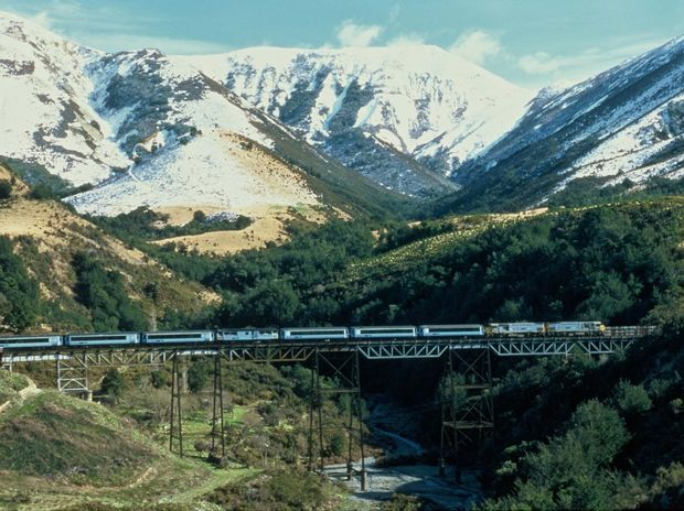 The TranzAlpine Express rattles over a viaduct with snow-capped peaks behind. The middle carriage is open-air for snapping the views.