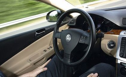 Look ma, no hands ... Volkswagen's Temporary Auto Pilot in operation.