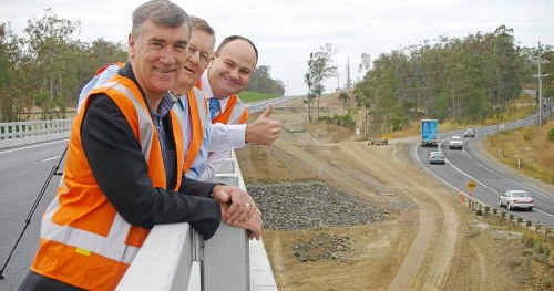 Senator John Hogg, Member for Hinkler Paul Neville and Minister for Main Roads Craig Wallace give the new Isis River Bridge the thumbs up in 2011.