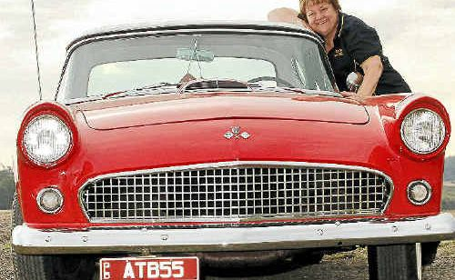 Gayl Hoskin with her 1955 Thunderbird. She is looking forward to the hot rod show at Kin Kin this weekend.