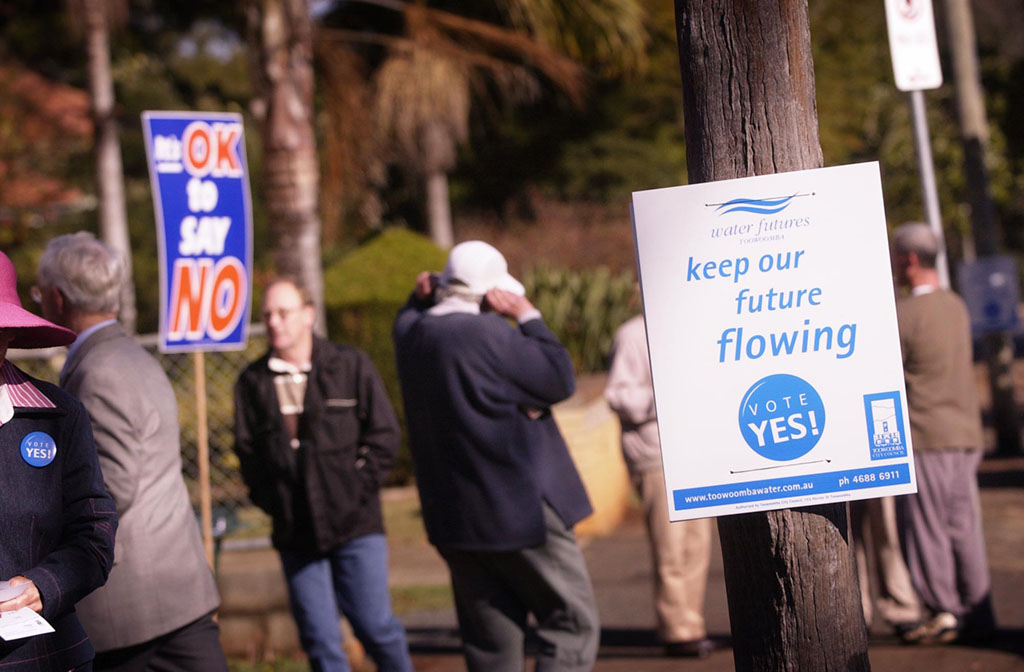 Toowoomba votes in 2006 on whether to use waste water to bolster water supplies.