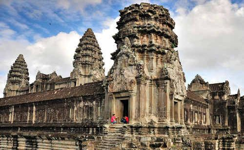 Angkor Wat rises 65 metres above the Cambodian jungle.