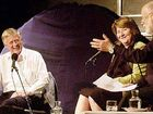 Former mayor Di Thorley (centre) and prominent No campaigner Snow Manners (right) on stage with radio broadcaster Phillip Adams during the water debate.