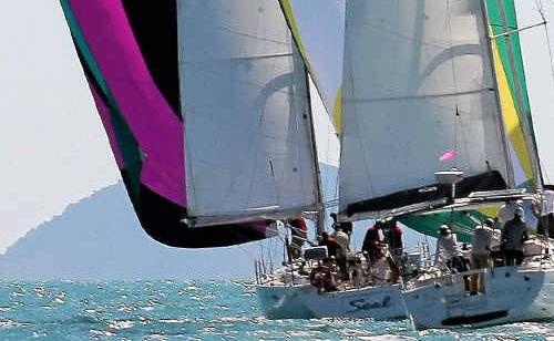Competitors in the Meridien Marinas Airlie Beach Race Week on the water yesterday.