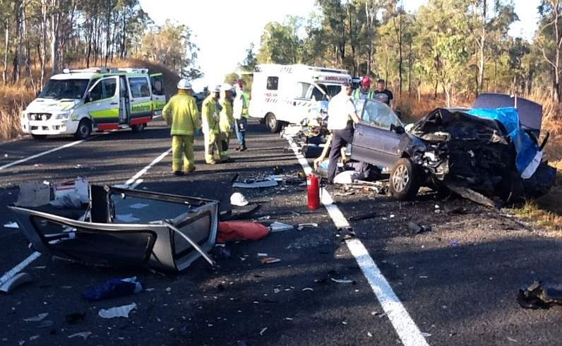 A PREGNANT Sunshine Coast teenager has died in a three-car crash on the Bruce Highway 25km south of Miriam Vale this morning.