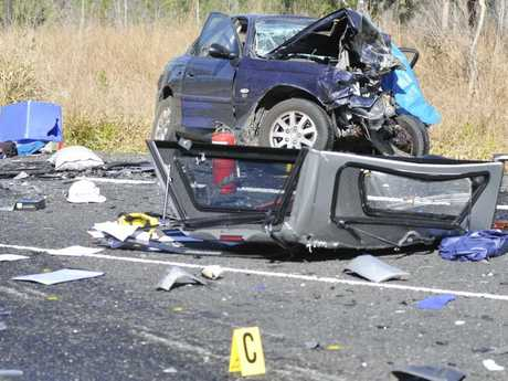 A woman died in this crash involving three vehicles on the Bruce Highway south of Miriam Vale.