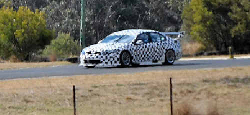Morgan Park Raceway was the scene of testing of a new V8 Supercar prototype yesterday.