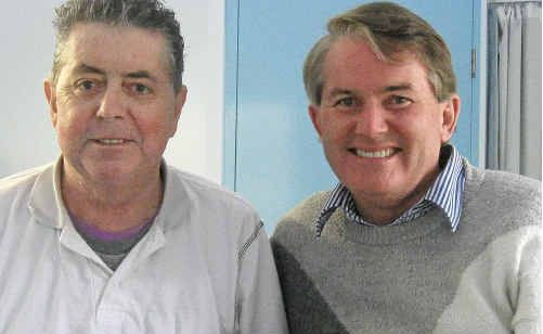 Michael Malloy (left) with his award and Ballina MP Don Page.