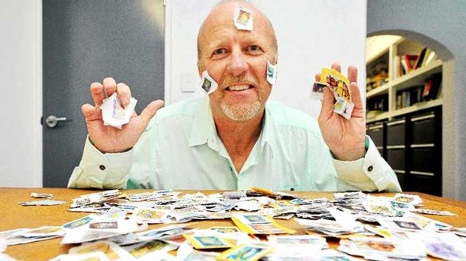 Rob De Groot with the office stamps awaiting a stamp collector.