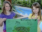 Boyne Island youngsters Jessica Rose, 9, and her friend Lauren Davidson, 10, want people to take care of the environment.