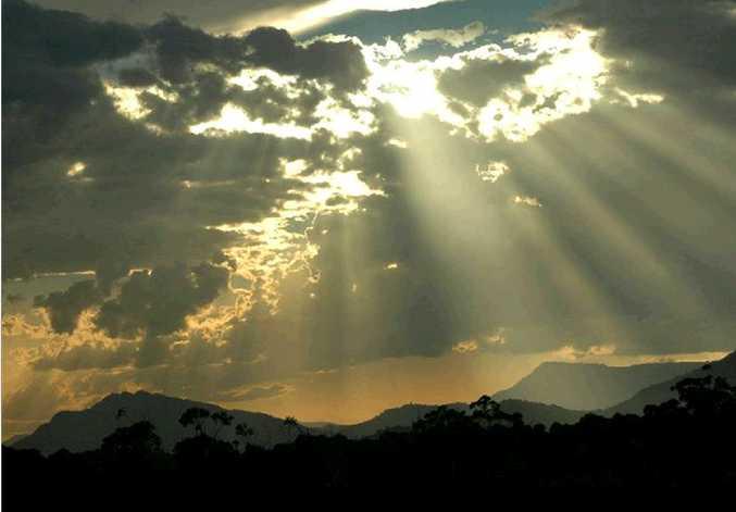 Rays of light beam over the Coffs Coast.