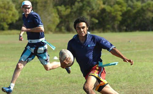 TAG ME IF YOU CAN: Benton Mordey in action during the Hervey Bay Oztag Corporate Charity Challenge last year. Seventeen teams will contest it again tomorrow.