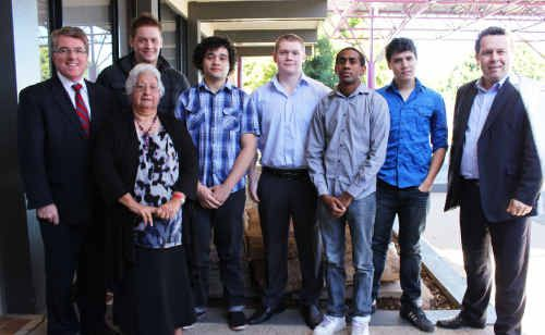 Steve McCallister, Aunty Denise Huet and Mathew McSweeney with some of the trainees.