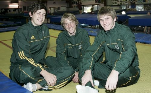 Rockhampton gymnasts (from left) Patrick Cooper, Bastain Tinney and Blake Rutherford are off to take on the world's best.