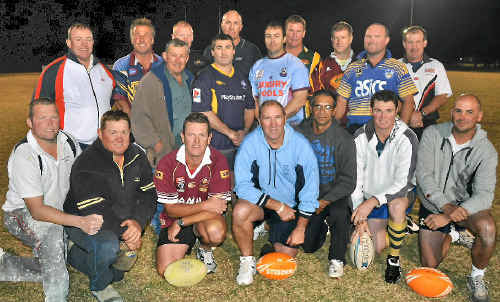 The Warwick and District Legends (front, from left) Scott Beard, Craig Mullaly, Tony Webb, Paul Shatte, James Jerome, Jason Denny, Kerry Scanlan, (back) Brian Boyce, Dave Landers, Cowboys president Don Browne, George McVeigh, Scott Morton, Glen Whitton, Pat Gainey, Matt Grayson, Lee Schwenke, Cameron Hamblin and Tim Smith are ready for the game against the Dragons Legends today.