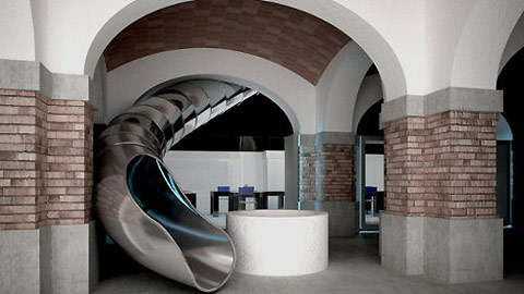 The Museum of Ideas and Inventions of Barcelona (MIBA), is spread over two floors, connected by this glorious slide.
