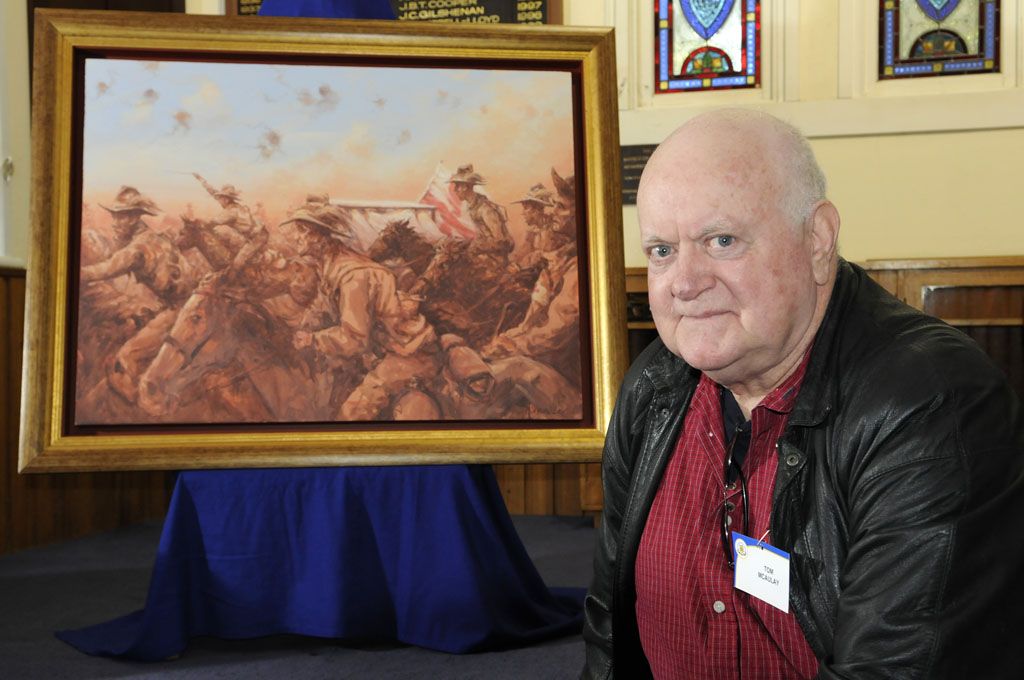 FRONT LINE: Tom McAulay is re-united with one of his most recognisable paintings,