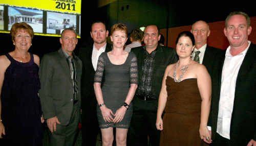 Celebrating at the awards are (from left) Val Moutrie, Steve Moutrie, Mark Bourke, Bonnie McCarthy, Nathan Langford, Amy McCreadie, Greg Luscombe and Mick McCreadie.