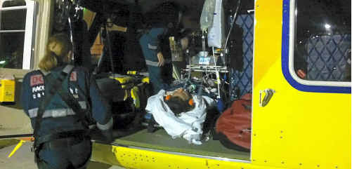 Jade Collins is airlifted to Brisbane. Photo: RACQ CareFlight
