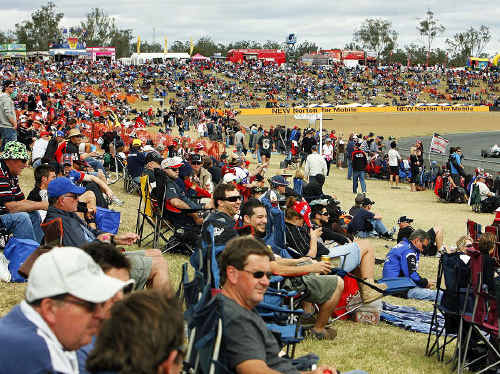 VANTAGE POINT: The crowd at the Coates Hire Ipswich 300 at Queensland Raceway on Saturday.