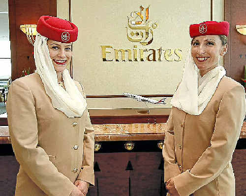 AT YOUR SERVICE: From the Emirates Lounge to the sky, the service is top-notch.