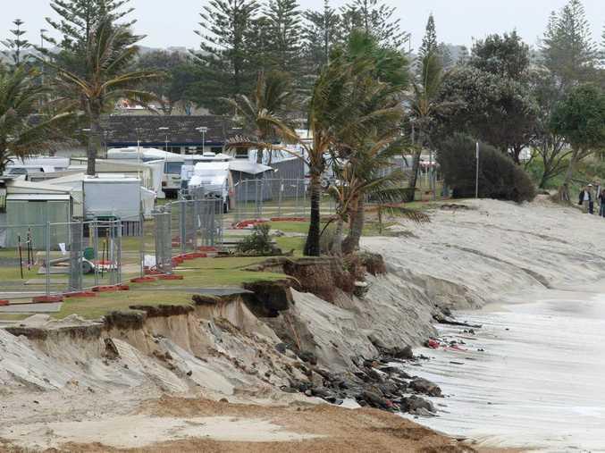 A 2011 file photo of severe coastal erosion at the seaside village of Kingscliff.