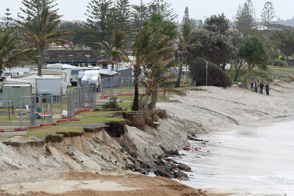 A 2011 file photo of severe coastal erosion at the seaside village of Kingscliff.
