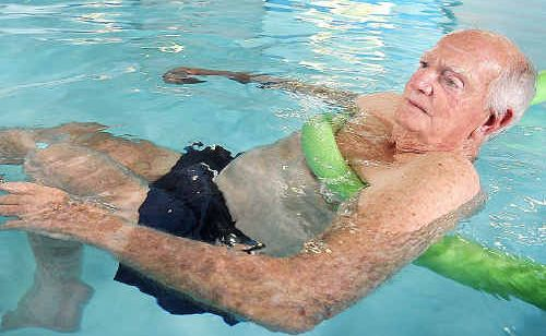 Allan Bashforth from Nambucca Heads doing his hydrotherapy at the Hervey Bay Aquatic Centre.