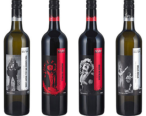 AC/DC's four new wines named after some of their most popular songs.