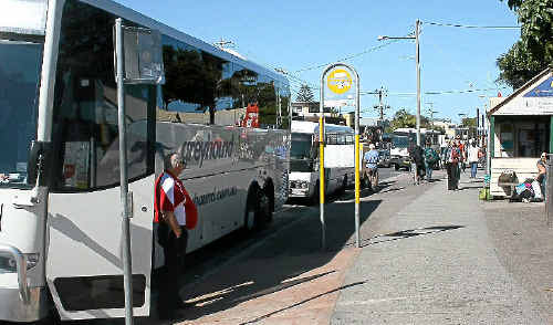 TRAFFIC DEBATE: The Byron Bay bus and coach stop is a focus of the mini-bypass proposal.