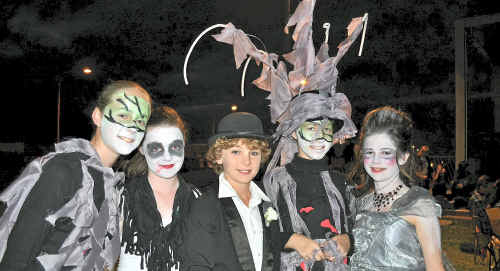 Mackay West primary school students Claire Aitken, Haidee Williams, Rory Webb-Smith, Vanessa Riley, and Amelia Orr compete in last year's Rock Pop Mime Show.