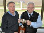 Warwick Turf Club president Jim Costello with Warwick Credit Union CEO Lewis von Stieglitz in the broadcast box with the Cup.