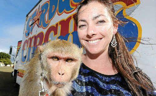 Startdust Circus monkey trainer Wonona West with Millie, her six-year-old rhesus monkey.