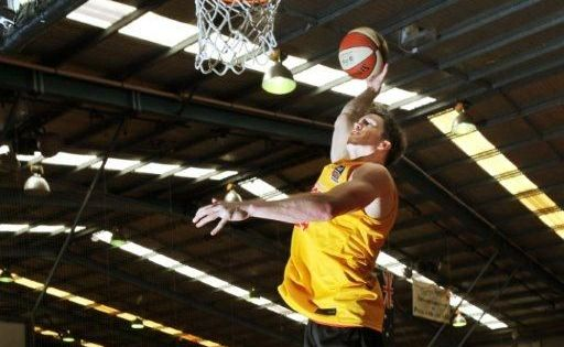 Lucas Walker from Melbourne Tigers goes through his paces at Sportz Central.