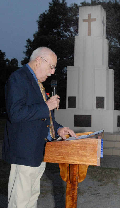 Historian and son of a Rat of Tobruk Steve Rowan addresses the crowd at last night's commemoration ceremony at Queen's Park.