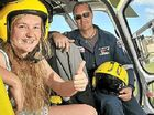 Darcy Borghetto with Westpac Rescue helicopter pilot, Aaron McDonald.