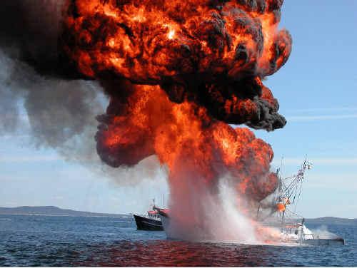 Iluka-based trawler the Waverider on fire four nautical miles off Angourie.