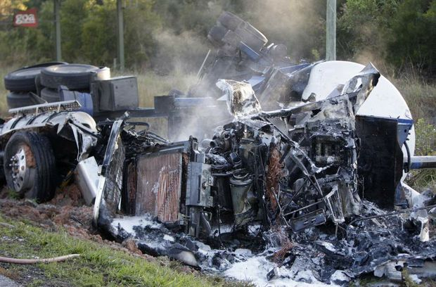 A truck crashed south bound on the Bruce Highway between the Sippy Downs exit and Sippy Sippy Creek Road. Photo: Cade Mooney / Sunshine Coast Daily